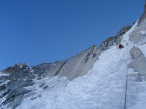 Scott heading up the last section (which had the worst ice on the route and was probably the actual crux)